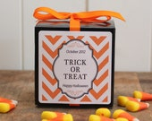 12 Halloween Personalized Favor Boxes - Chevron Design - Kids Halloween Party, Chevron Halloween Party Favor, Halloween Treat Bag