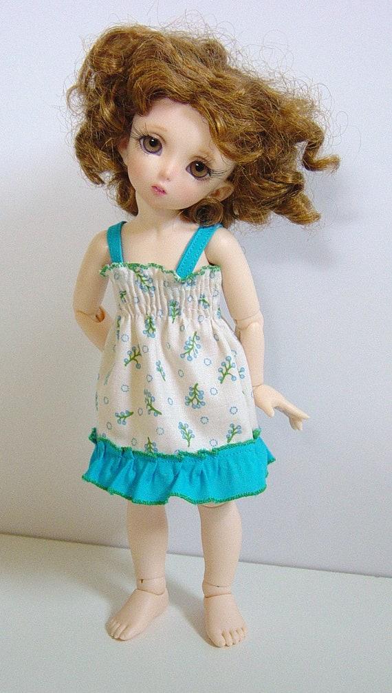 LTF/LittleFee/YOSD Shirred Tuquoise and Green Fern Sundress w/ Ruffle