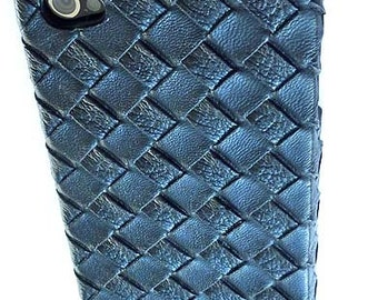 New Black Woven Leather Hard Case for Iphone 4 4S Sprint Virgin Verizon AT&T
