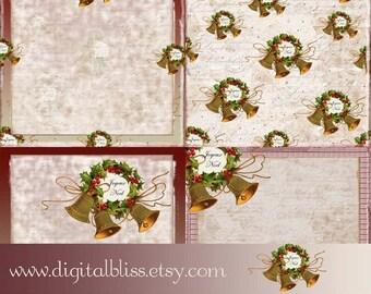 Christmas Vintage Bells Distressed 12X12 Scarpbook Pages
