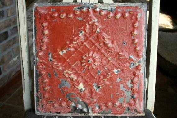 "Genuine Antique Ceiling Tile -- 12"" x 12"" -- Burnt Orange Paint with Pretty Cream Highlights"