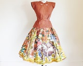 Vintage 50's Hand Painted Mexican Skirt and Shirt Set