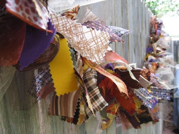 Fabric Garland, Fabric Banner, Ribbon Garland, Fall Garland, Autumn Banner, Harvest Decoration, Fall Bunting in Brown Rust Yellow