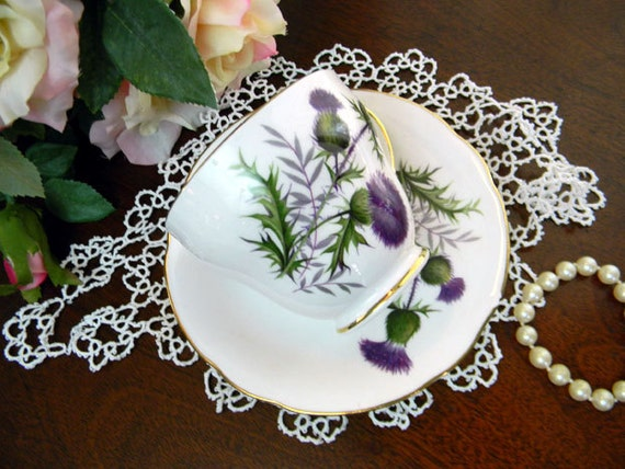 Duchess Bone China Teacup and Saucer - Thisle - Made in England 8443