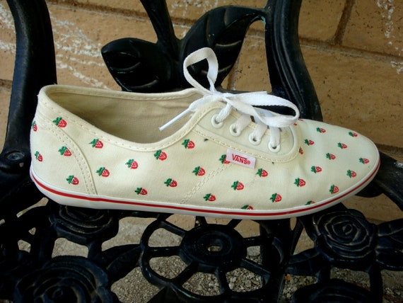 SO FLY Strawberry Vans white sneakers Size 10