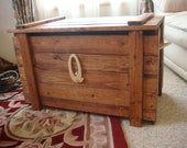 Wooden Toy Box extra tall / Stained in Red Oak. with 5 lettes