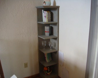 60 in tall corner shelf ,bookcase, display, Grey transparent stained