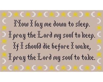 Now I Lay Me Down to Sleep... Cross Stitch Chart