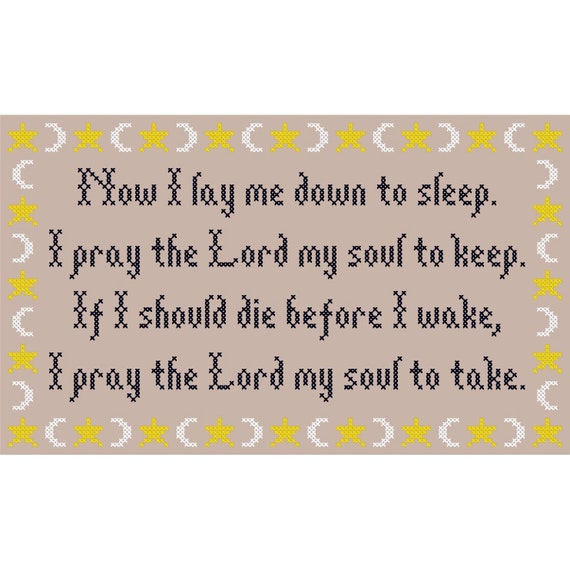 Now I Lay Me Down to Sleep... Cross Stitch Chart