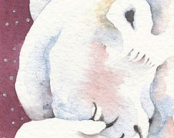 OSKI Polar Bear aceo PRINT watercolor giclee PRAYER - Free Shipping