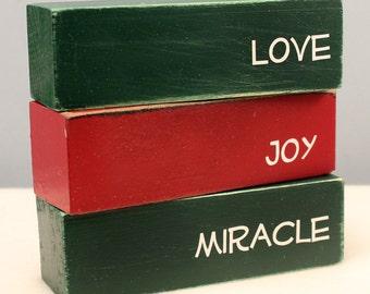 Wooden Word Blocks, Holiday Affirmations, Inspirational Words, Wood Block Set, Seasonal Decor, Inspirational Decor, Christmas Decorations