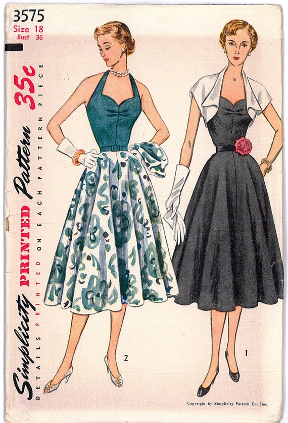 1950s FACTORY FOLDED Halter Dress and Bolero Jacket Rockabilly Swing Pin Up Simplicity 3575 Bust 36