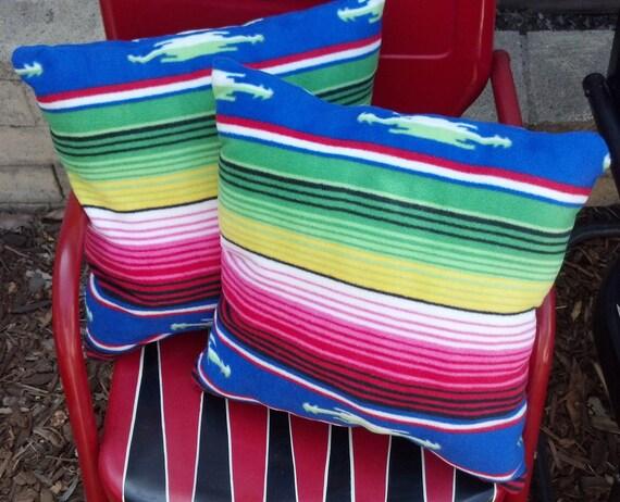 Mexican Blanket Serape Fleece Handmade Custom Throw Pillows Set of Two