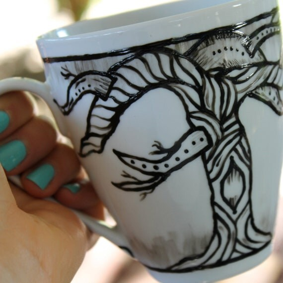 Caged Birds Ceramic Hand painted Painted Mug
