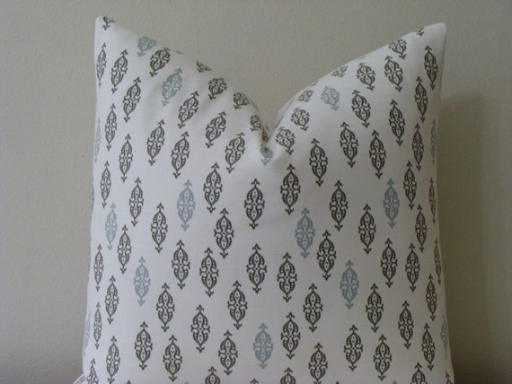 "SALE - BOTH SIDES - Robert Allen Dwell Studio  Boteh Brindle - 20"" x 20"" Decorative Designer Pillow Cover"