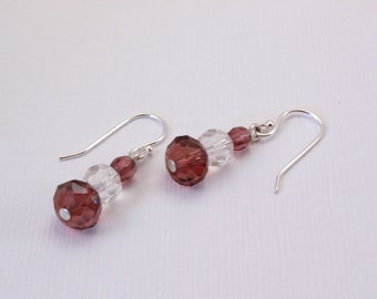 Purple and Crystal Dangle Earrings