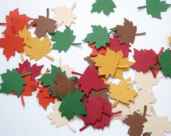 100 Warm Autumn Thanksgiving Maple Leaf punch die cut confetti embellishments - No456