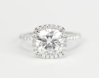 CERTIFIED - 8mm  Enhanced Cushion Moissanite & Diamonds Ring 14K White Gold