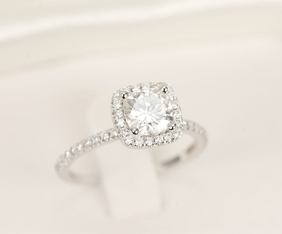 CERTIFIED - Cushion Moissanite & Diamonds Ring 14K White Gold