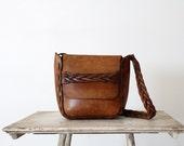 1970s Leather Bag //  Vintage Boho Purse