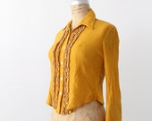 vintage 70s gauze top / yellow ruffle shirt