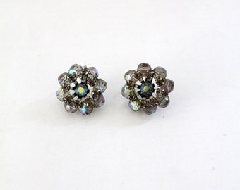 1950s rhinestone earrings, vintage costume jewelry, floral clip on earrings
