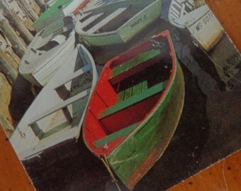 Nautical Christmas, RED GREEN New England Harbor boat scene, 4 VTG Playing cards, REpurpose for gift tags, placecards, mixed media