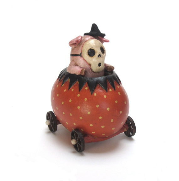 Piggy Hijinks - Folk Art OOAK Piglet in Halloween car skeleton mask