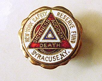 """1940's Enameled Safety """"pin"""" from Syracuse NY"""
