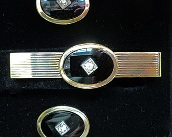 1940's Art Deco Formal Cuff Links and Tie Bar set