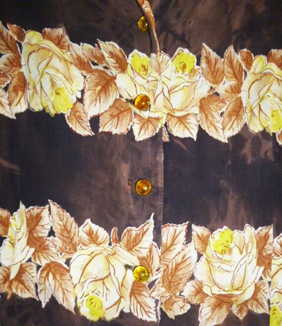 1940's Rayon Rose pattern Dress with Tie Dye