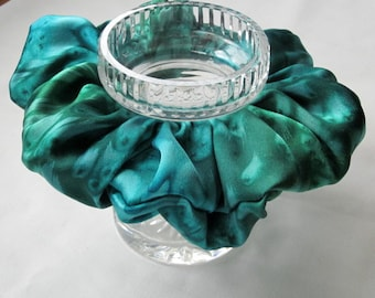 Emerald Green Silk Satin Scrunchie