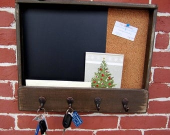 Large Mailholder, Chalk & Cork Board with Keyhooks