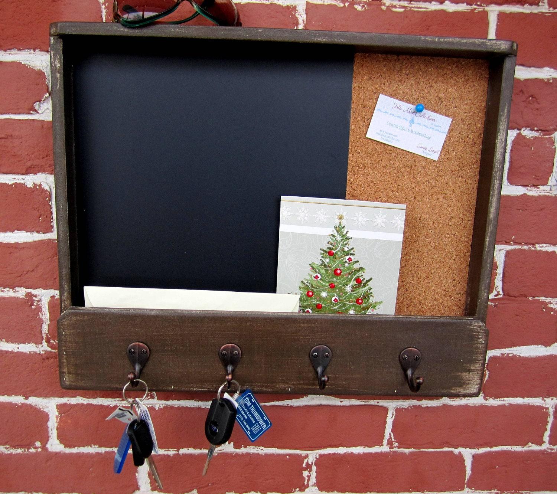 large mailholder chalk cork board with keyhooks. Black Bedroom Furniture Sets. Home Design Ideas