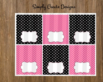 SALE Pink and Black Food Labels Polka Dot NON Personalized 8.5x11 Digital File JPEG