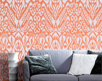Ikat Stencil for Walls - Ikat Pattern no. 5 - Allover wall stencil repeating pattern for DIY Home Decor