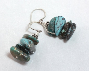 Natural Turquoise Earrings, Sterling Silver, Stacked Nuggets, Organic