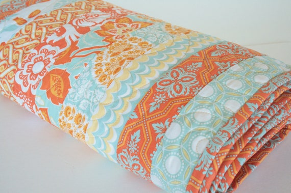 Modern Handmade Bed Quilt, Quilted Coverlet, Heirloom Quilt, Bedroom Decor in Orange, Aqua and Yellow