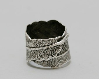 Silver Feather,Jewelry Gift, Ring,Silver,Flower,Antique Ring,Silver Ring,Blossom,Wedding,Bridesmaid.Iris Ring