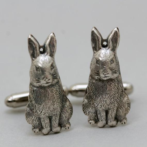 Rabbit Bunny Cufflinks Men's Cufflinks  Antiqued Silver Vintage Style  Fashion Accessories