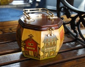 Vintage Wood Purse, Hand-painted