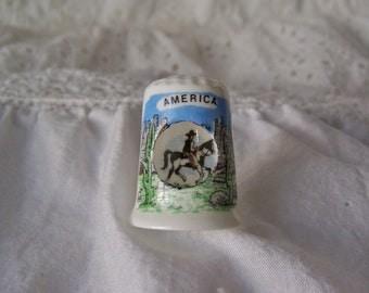 Vintage Peep Thimble Cowboy Thimble American Cowboy Horseback Porcelain Thimble Collector Sewing Room Vintage 1980s