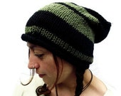 Knitted Wool Slouchy Hat - Green - Black - Stripes