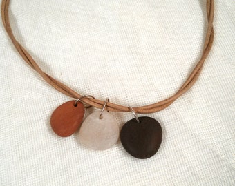 Natural leather and beach stone necklace