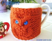 Knitting Pattern - Knitted Owl Cup Cozy, Tea Mug Sleeve PDF Pattern - CCZ06122013-03 - Instant Download