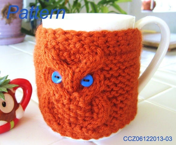 Knitting Pattern Knitted Owl Cup Cozy Tea Mug Sleeve PDF
