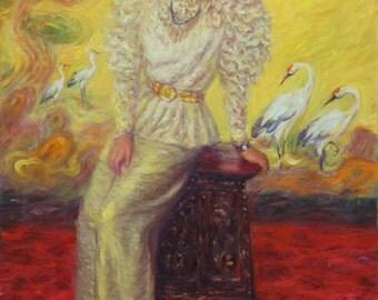 "Princess Oriental, original oil painting, 36"" x 24"". Free shipping."