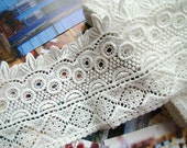 Cotton Embroidered Lace Trim -2 Yards Ivory Retro Flower Lace(L366)