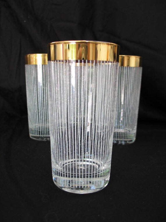 Vintage Barware Glasses Gold and White Striped