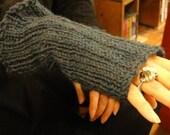 Ribbed Merino Wool Fingerless Gloves
